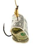 Cebo del dólar en gancho de leva imagen de archivo libre de regalías