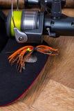 Cebo del hilandero de la pesca del primer con el carrete Fotografía de archivo libre de regalías