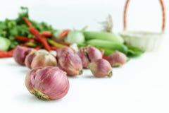 Cebola com o vegetal no fundo branco Fotos de Stock