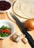 Cebola dos feijões dos chillis dos Tortillas   Fotografia de Stock