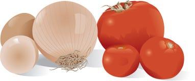 Cebola, tomates e ovos Imagem de Stock