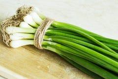 Cebola verde fresca em uma placa de madeira Imagem de Stock Royalty Free