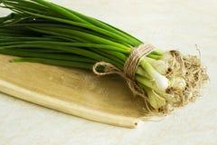Cebola verde fresca em uma placa de madeira Imagem de Stock