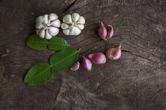 Cebolas, alho, folhas do cal do kaffir Fotografia de Stock