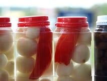 Cebolas conservadas Fotografia de Stock Royalty Free