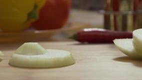 Cebolas cortadas de queda do anel na placa de corte de madeira Close up de círculos de queda da cebola verde na bacia de vidro do vídeos de arquivo