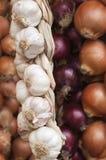 Cebolas e alho do tipo diferente Fotografia de Stock Royalty Free
