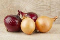 Cebolas e cebolas vermelhas no fundo de madeira Imagens de Stock Royalty Free