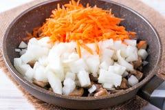 Cebolas e cenouras fritadas, sopa de enchimento, alho, alimento caseiro imagens de stock royalty free