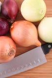 Cebolas e faca Foto de Stock Royalty Free