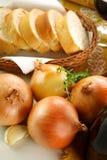 Cebolas e pão Imagem de Stock Royalty Free