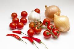 Cebolas, tomates, pimentões, alho Fotografia de Stock Royalty Free
