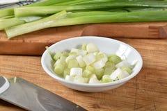 Cebolas verdes desbastadas foto de stock royalty free