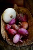 Cebolas vermelhas frescas em um fundo de madeira Fotos de Stock Royalty Free