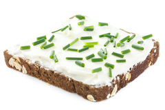 Cebolinha fresco do corte no queijo creme grossamente espalhado no pão escuro da saúde Imagens de Stock