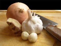 Cebolla, ajo y jengibre Imagen de archivo