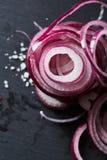 Cebolla española roja cortada y salada imágenes de archivo libres de regalías