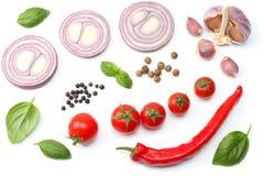 cebolla roja cortada, pimienta de chile candente, tomate, ajo y especias aislados en el fondo blanco Visión superior foto de archivo