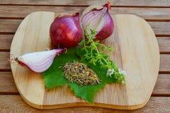 Cebolla roja y especias en tabla de cortar Foto de archivo