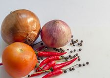 Cebolla, tomate, chiles y pimienta Imagenes de archivo