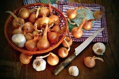 Cebolla y ajo orgánicos en la cesta con el cuchillo del vintage Fotografía de archivo libre de regalías