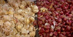 Cebollas blancas y rojas Fotos de archivo