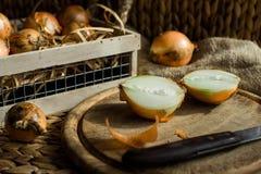 Cebollas en la tabla de cortar de madera rústica Cebollas tajadas en tablero rústico foto de archivo libre de regalías