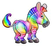 Cebra del arco iris de la historieta Foto de archivo libre de regalías