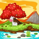 Cebra del paisaje en selva de la fantasía Imagen de archivo libre de regalías