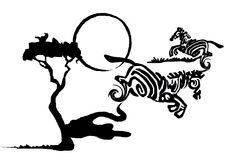 Cebras de la mancha de la tinta libre illustration