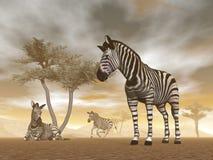 Cebras en la sabana - 3D rinden libre illustration