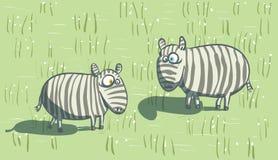 Cebras en sabana stock de ilustración