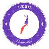 Cebu circular patriotic badge. Grunge rubber stamp with island flag, map and name written along circle border, vector illustration Royalty Free Stock Image