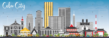 Cebu City Philippines Skyline with Gray Buildings and Blue Sky. Vector Illustration. Business Travel and Tourism Illustration with Modern Architecture Stock Photos