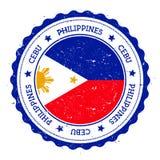 Cebu flag badge. Vintage travel stamp with circular text, stars and island flag inside it. Vector illustration Stock Image