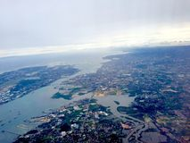 Cebu Metropolis. Bird's eye view of Cebu, Mandaue, and Lapu-lapu (Mactan Island) . The two bridges that connects the main island to Mactan are visible royalty free stock photo