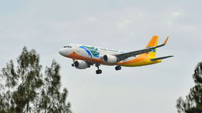 Cebu Pacific Airbus A320 with new sharklets landing at Changi Airport Royalty Free Stock Photography