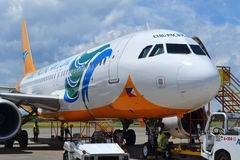 Cebu Pacific aircraft. DAVAO, PHILIPPINES - APRIL 19, 2015: Cebu Pacific aircraft at Davao International Airport. Cebu Pacific is one of the most popular stock photography