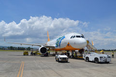 Cebu Pacific aircraft. DAVAO, PHILIPPINES - APRIL 19, 2015: Cebu Pacific aircraft at Davao International Airport. Cebu Pacific is one of the most popular Stock Image