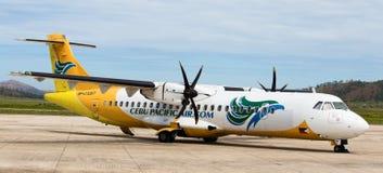 Cebu Pacific airplane in Busuanga airport Stock Photos
