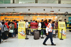 Cebu Pacific check in offices. DAVAO, PHILIPPINES - APRIL 19, 2015: Cebu Pacific flights check in at Davao International Airport. Cebu Pacific is one of the most Royalty Free Stock Images