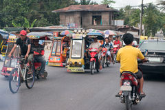 CEBU - PHILIPPINES - JANUARY,7 2013 - Town street congested traffic Royalty Free Stock Photo