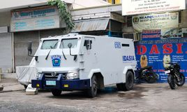 Cash in transit van. Cebu, Philippines -1 October, 2018: Armored car for transportation of money and valuables. High security van used for transporting cash royalty free stock image