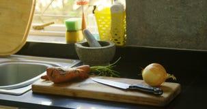 Cebula, marchewka i batat z nożem w kuchni 4k, zbiory wideo