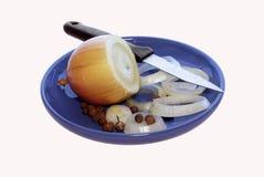 cebula pieprz nożowy pieprz Fotografia Stock