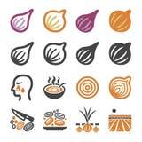 Cebula, szalotki ikony set ilustracji