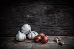 Cebule i czosnku wciąż życie Obrazy Royalty Free
