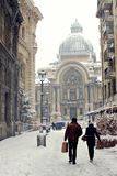 CEC Bank, Bucharest - Winter time Royalty Free Stock Photos