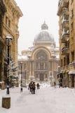 CEC Bank Casa de Economii-Si Consemnatiuni während des Winter-Schnee-Sturms Lizenzfreies Stockfoto