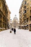 CEC Bank Casa de Economii-Si Consemnatiuni während des Winter-Schnee-Sturms Lizenzfreies Stockbild